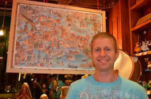Alessandro, owner of La Ricerca, and his graphic map of Venice