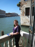 Mama Jude enjoys our terrace on the Grand Canal