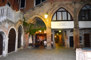 Our beloved Taverna al Remer in the Campiello (courtyard) outside our front door