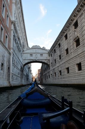 View of the Bridge of Sighs from a gondola
