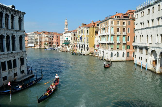 View from middle of Rialto Bridge