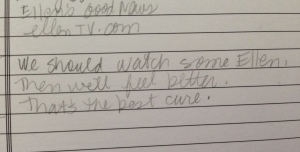 A sweet note Mama wrote to herself about Ellen