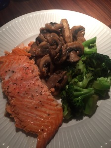 salmon, mushroom and broccoli