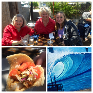 The Nosy Parker family with Sandy, Ocean mural & fish taco at Santa Rosa Seafood Restaurant (Clockwise from top)