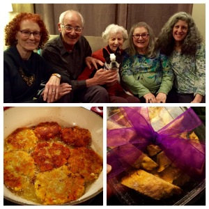Top: Bonnie, Phil, Bobbie with Paisley, Mama and Margo; Bottom L: frying latkes; Bottom R: Mandelbrot gift!