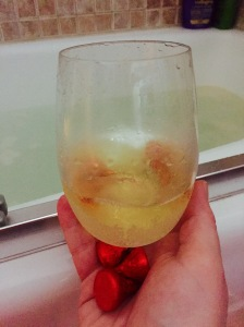 Perfect afternoon bath with wine, chocolate